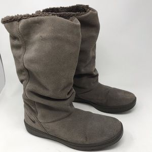 Nike Sneaker Hoodie Gray Suede Fleece Lined Boots